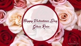 happy valentines day glass rose